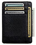 Zhoma RFID Blocking Wallet Slim Front Pocket Leather Card Holder with ID Window - Black