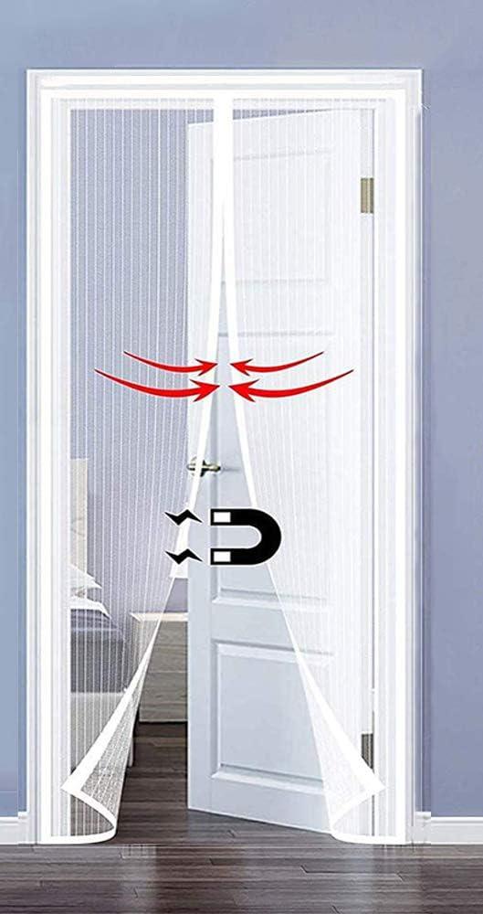 MODKOY Mosquiteras Magnetica Puerta Adsorci/ón magn/ética Plegable Circulacion de Aire Cortina Ultrafina Mantiene Mosquitos Fuera F/áCil De Instalar para Puertas Pasillos 70x180cm Blanco