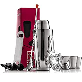 Expert Cocktail Shaker Home Bar Set – 14 Piece Stainless Steel Bar Tools Kit with Shaking Tins