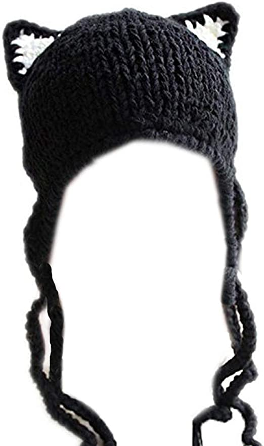 ALLDECOR Funny Puccy Cat Handmade Knitted Hat Unisex Winter Outdoor Warm Beanie