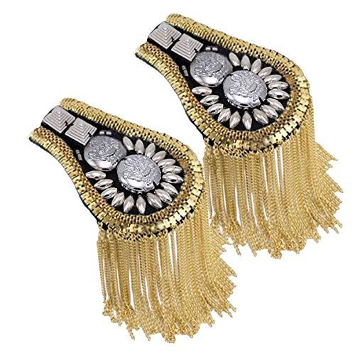 - Blazer Shoulder Epaulets Tassel Chain Metal Epaulettes Beads Punk Fringe Epault by The Pair (Gold)