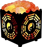 Crystal Decor Natural Himalayan Salt Lamp in Bagua Design Metal Basket with Dimmable Cord