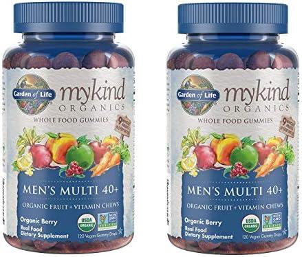 MyKind Organics Men s Multi 40 Whole Food, Organic Vitamin Chews in Delicious Organic Berry 120 Vegan Gummy Drops Pack of 2
