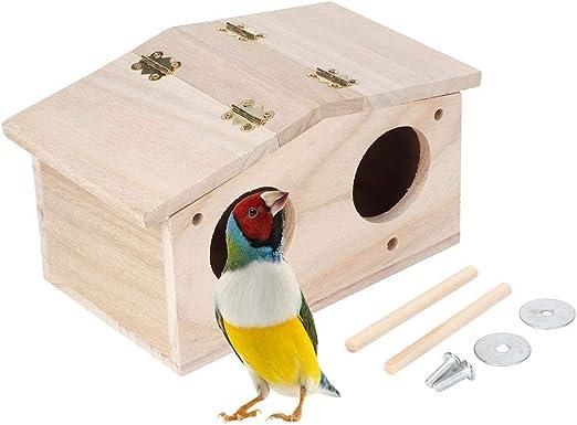 Bird House, Nido de Madera para Mascotas, nidos de pájaros, Caja de cría, Jaula, Accesorios para pajarera con Puerta de Dos Agujeros para Loros, Golondrinas, pájaros y Otros Animales Salvajes: Amazon.es: Hogar