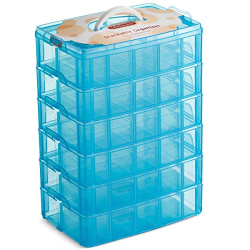 LifeSmart USA Stackable Storage Container Blue 60 Adjustable Compartments Compatible with Lego Dimensions Shopkins Littlest Pet Shop Arts and Crafts and More (Standard 6 Tier) (Rainbow Loom Carrying Case)