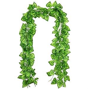 RERXN Artificial Ivy 12 Strands 84 Ft Silk Greenary Leaf Hanging Vine Plant Fake Foliage Garland Home Garden Office Wall Decor 120