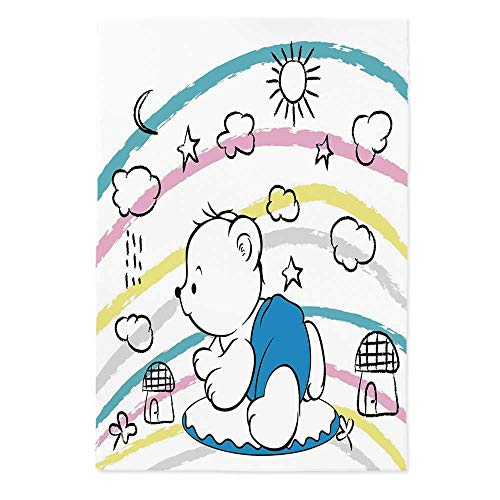 Bear Printed Tablecloth,Children Kids Theme Cute Doodle Toy with Clouds Sun Moon and Houses Colorful Stripes Decorative for Rectangle Table Kitchen Dinning Party,60''W X 84''L