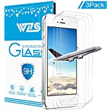 """[3-Pack] WZS iPhone 5S / 5 / SE Screen Protector,Premium Tempered Glass with 99.99% HD Clarity and 3D Touch Accuracy, Tempered Glass Screen Protector for iPhone 5S / 5 / SE / 5C [4""""inch]"""