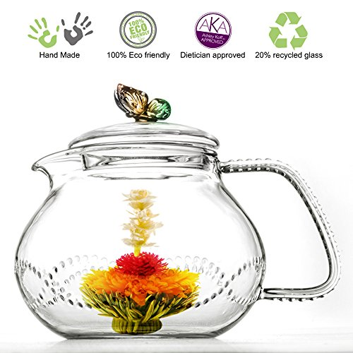 (Tea Beyond Clear Glass teapot Rainbow Butterfly 24 oz/710ml non drip heat resistant )