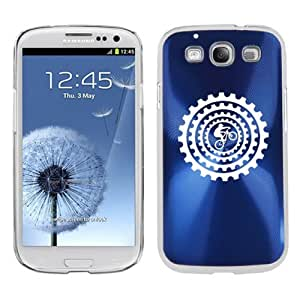 Samsung Galaxy S III S3 Aluminum Plated Hard Back Case Cover Bike BMX Mountain Gears (Blue)
