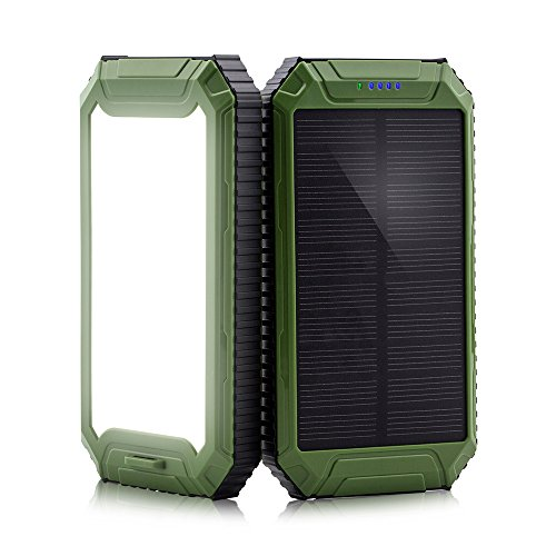 Solar Power Bank, PowerGreen10000mAh Solar Charger 2-Port USB - External Battery Pack charger for iPhone 6/6s,Andriod,HTC and More (Green)