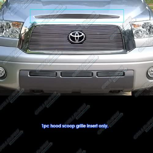 APS Compatible with 2007-2009 Toyota Tundra Top Panel Hood Scoop Billet Grille Insert S18-A05156T