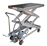 Vestil AIR-1500-D-PSS Partially Stainless Steel Air Hydraulic Cart, 1500 lbs Capacity, 47-1/4'' Length x 24'' Width Platform, 19-1/2'' - 67'' Height Range