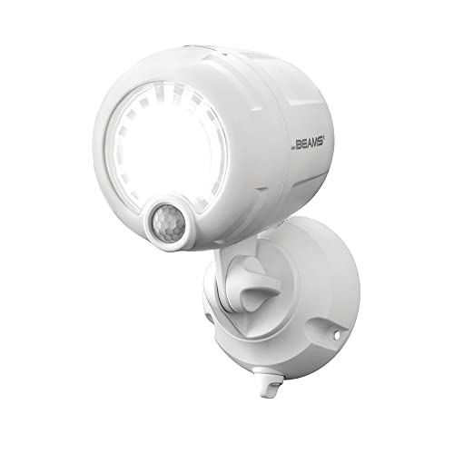 Mr. Beams Wireless Battery-Operated Outdoor Motion-Sensor-Activated LED Spotlight, Plastic, White, 200 lm