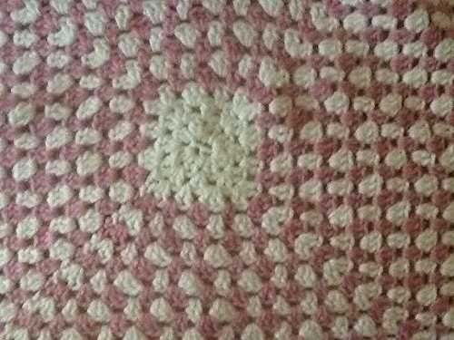 Handmade Crocheted Baby Blanket, White with Fushia, Granny Square Afghan