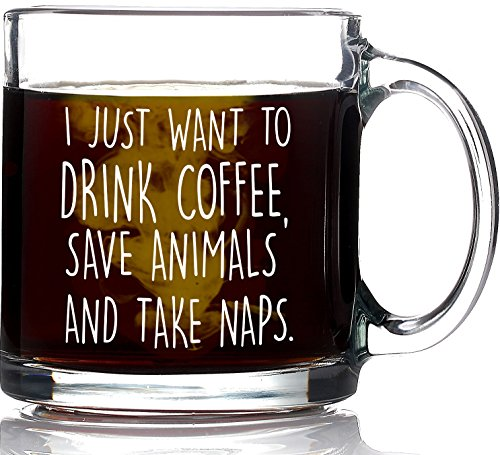 I Just Want to Drink Coffee Save Animals Take Naps Funny Coffee Mug 13oz - Unique Gift For Animal Lovers - Best Pet Lover Gifts - Veterinarian, Dog Mom, Cat Mom, Animal Rescue, Vet Tech ()