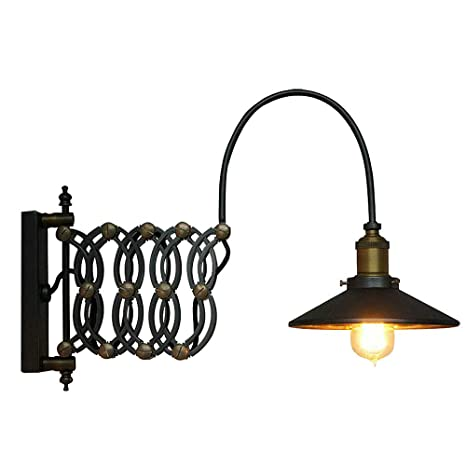 on sale b1564 1faea SUSUO Lighting Industrial Look Scissor Extendable Accordion Wall Sconces  Loft Style Iron Art Wall Lamp