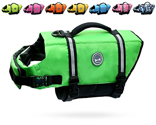 - Vivaglory Dog Life Jacket Size Adjustable Dog Lifesaver Safety Reflective Vest Pet Life Preserver, Extra Bright Green, Large