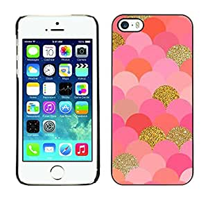 LOVE FOR iPhone 5 / 5S Scales Pattern Gold Pink Glitter Bling Personalized Design Custom DIY Case Cover