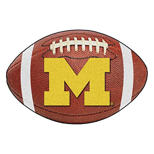 (FANMATS NCAA University of Michigan Wolverines Nylon Face Football Rug)