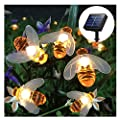 Semilits Solar String Lights 20LED Outdoor Waterproof Simulation Honey Bees Decor Garden Xmas Decorations Warm White