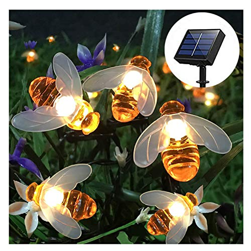 SEMILITS Solar String Lights 20LED Outdoor Waterproof Simulation Honey Bees Decor for Garden Xmas Decorations Warm White -