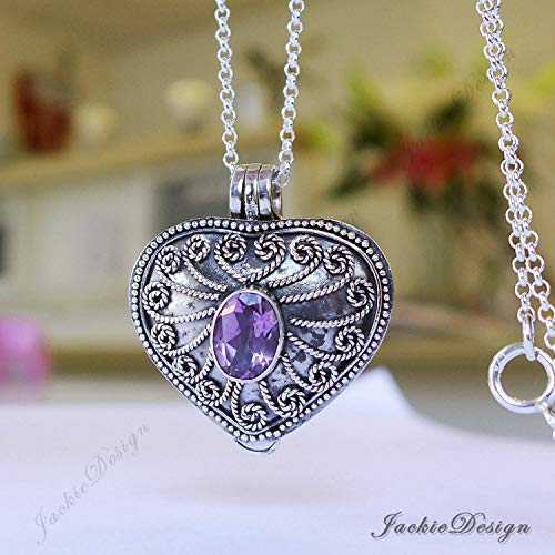 Heart Locket Purple Amethyst Container Pendant Sterling Silver 20