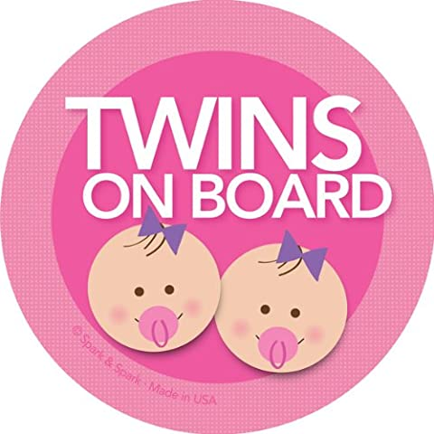 Twins on Board Car Sticker - Brunette twin girls on board - Modern and Unique - Bright Colors