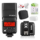 Godox TT350S 2.4G TTL Speedlite Flash w/ X1T-S TTL Wireless Flash Trigger, 2 Batteries & Charger and Pergear Carrying Case for Sony Mirrorless Camera A7 A7R A7S A7II A7RII A7SII A77II SLT A6300 A6000