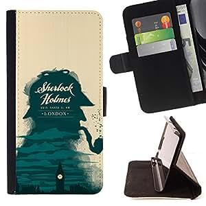 BullDog Case - FOR/LG OPTIMUS L90 / - / SHERLOCK DETECTIVE LONDON BIG BEN /- Monedero de cuero de la PU Llevar cubierta de la caja con el ID Credit Card Slots Flip funda de cuer