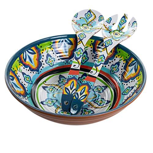 Elama Lightweight Serveware Salad Bowl Serving Set, 3 Piece, Multicolor