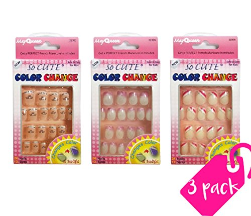 Beautia 3PACK So Cute Junior Color Changing Sticker Nail for Kids 22303/22305/22306