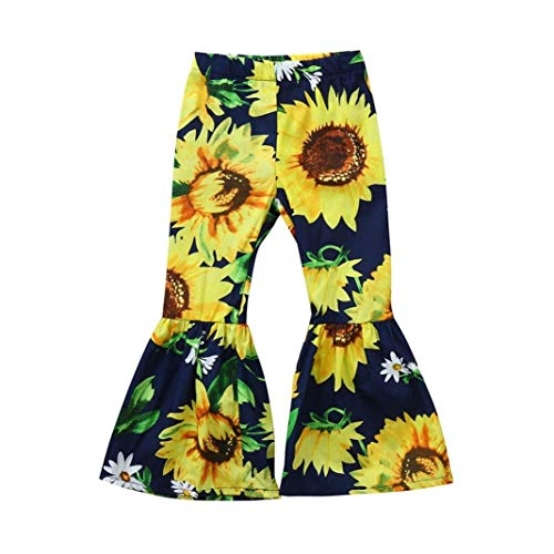 KONFA Toddler Baby Girls Sunflowers Print Flare Trousers 0-4 Years Old,Little Princess Pants Cotton Leggings Clothing Sets (Navy, 12-18 Months)