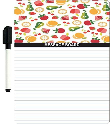 "Rikki Knight Fruit Pattern Design 8"" x 10"" x 1/8 Hardboard Dry Erase Message board with Magnet strips on back (Black Marker included)"