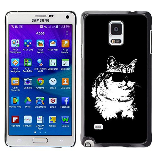Plastic Shell Protective Case Cover || Samsung Galaxy Note 4 || Cat Sunglasses Cool Black White Feline @XPTECH