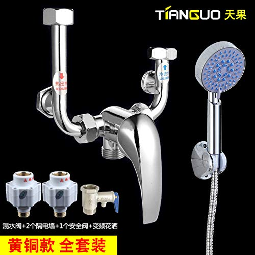 K PajCzh Bathroom Fixturesall Copper Household U-Type Electric Water Heater Mixing Valve Enlarge Body Shower Faucet Hot And Cold Switch Universal Accessories Wall Mounted, Brass Models, Full Set A