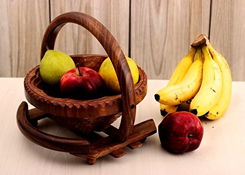 Wooden Fruit Basket Stand with Handle for Display Storage Folding Collapsible Home Picnic Accessory