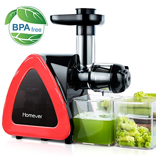 Juicer Machines, Homever Slow Masticating Juicer for Fruits and Vegetables, Quiet Motor, Reverse Function, Easy to Clean Hight Nutrient Cold Press Juicer Machine with Juice Cup & Brush, BPA-Free