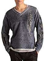 Ed Hardy Mens Love Kills Applique V-neck Sweater - Midnight