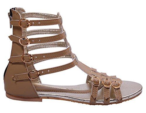 John Sparrow Mujeres tobillera cremallera plana sandalia abierta calzado dedo del pie - tamaño disponible marrón