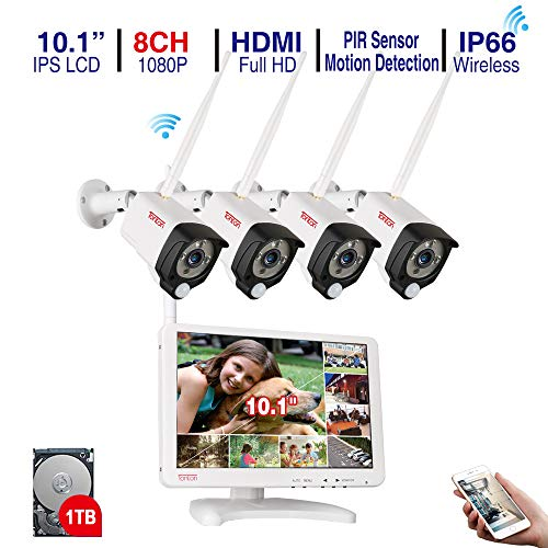 [Audio Recording] Tonton All-in-One Full HD 1080P Security Camera System Wireless,8CH WiFi NVR with 10.1