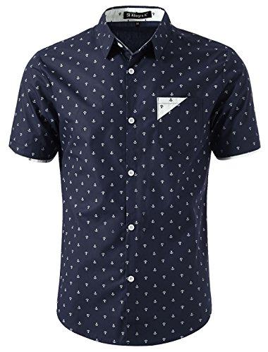 uxcell Men Anchor Pattern Point Collar Button Down Short Sleeve Casual Shirt Navy Blue M (US 40)