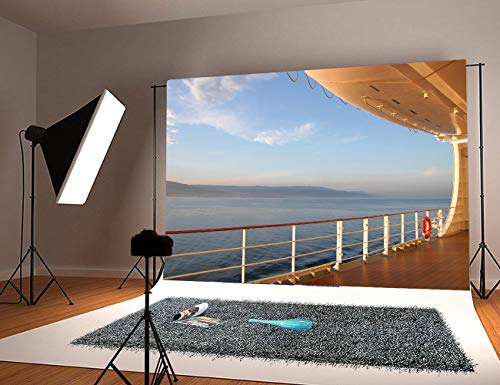 Sunset Yacht Deck Background - Luxury Cruise Ship Deck at Sunset Yacht Deck Coast in the distance - Photography Backdrop 7X5FT Photo Background - Great for Photo Studio, Booth, Party, Selfie,Baby