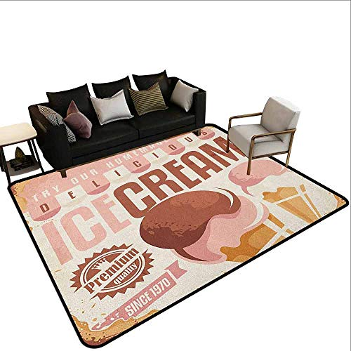 Printed Carpet Ice Cream,Pop Art Style Nostalgic Homemade Ice Cream Emblem Graphic Print, Pale Pink Chocolate Yellow