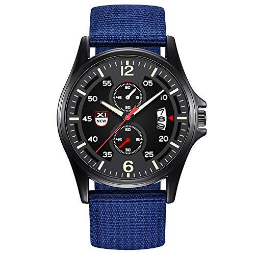Present Hot!!!Military Nylon Waterproof Date Quartz Analog Army Men's Quartz Wrist Watches Outsta for Men Boys Holiday Gift (D)