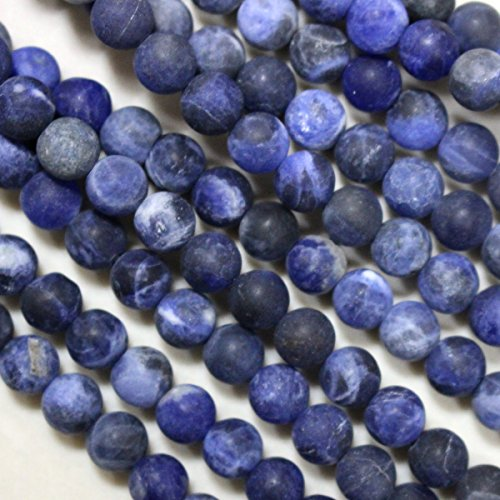 Sodalite 6mm Round Beads (Natural Genuine Blue Unpolished Matte Sodalite Round Gemstone Round Loose Beads for Necklace Jewelry Making Findings)