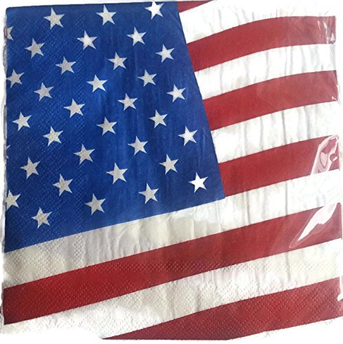 Patriotic Paper Plates and Napkins 4th of July Flag Theme Red, White and Blue Bundle of 4 Includes Paper Plates, Napkins, Tablecloth and Table Confetti by Unknown (Image #3)