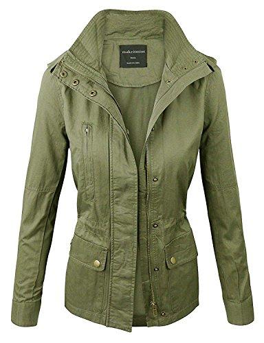 makeitmint Women's Zip Up Military Anorak Jacket w/ Pockets Large YJZ0005_LTOLIVE
