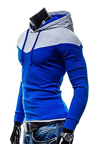 Rising On Comfortable Men's Color Block Hooded Sweatshirt High Collar Pullover Hoodies Royal Blue Medium/chest:40.9