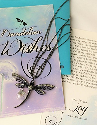Smiling Wisdom   Black Dragonfly Dandelion Wishes Gift Set   Black Dragonfly Necklace With 3 Stand Chain With Dandelion Seed Orb   For Women  Teens   Black